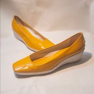 TOD'S Bright Yellow Casual Wedge